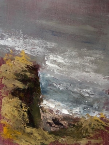 Botallack Cove, Cornwall; cliff edge. Alkyd oil sketch on board; unframed 8x6ins.