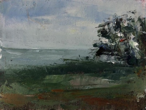 St Loy cove, Cornwall - looking south. Oil on board; 16x12in