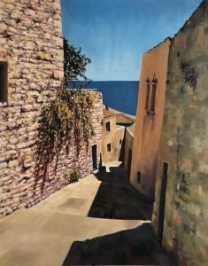 Monemvasia Street, August midday. Oil on canvas; 30x24in