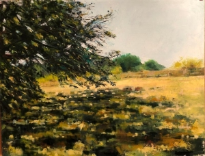 Under oaks, Agenais. Oil on paper under framed glass. 30x20ins.