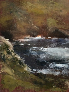 Botallack cove. Oil on board, framed under glass; 8x6in