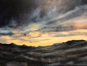 Dawn, Wasatch hills, Utah winter. Oil on canvas; 40x30in