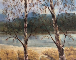 Arran and birches. Oil on canvas; 30x24in