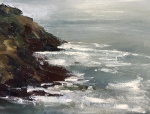 Botallack cove; Scillies on horizon. Oil on board; 16x12in