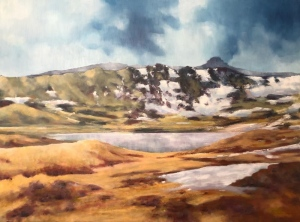 Highland spring, late snow. Oil on canvas; 30x24in