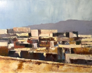 Atlas village roofs. Oil on canvas; 20x18in