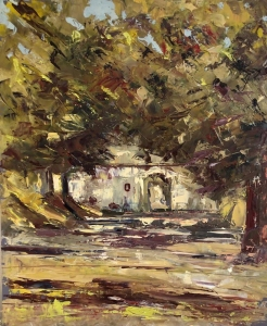 Bratislava castle gardens. Oil on board; 11x13in SOLD
