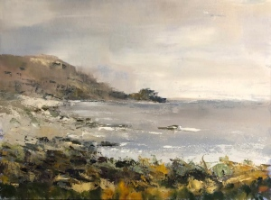 St Loy's cove looking east. Oil on canvas; 16x12in